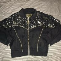 Womens Small Black East West Windbreaker Jacket With Stars And Pockets