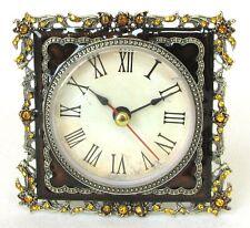 NEW BROWN+GOLD BRASS+ORANGE CRYSTAL VINTAGE FLORAL ROMAN NUMERAL CLOCK+BOX 1922