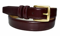 0211-Toneka Men's Cordovan Navy Tan Feather Edge Leather Belt Solid Brass Buckle