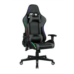 Office Computer Gaming Chair Bluetooth Speaker LED Lights Recliner Swivel Racing