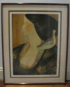 """Jean-Jacques Balitran """"Jeune Fille et Colombe"""" Signed Lithograph 192/200 Framed"""