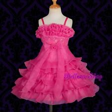 Beaded Tiered Formal Dress Wedding Flower Girl Pageant Party Gift Size 2-8 FG185