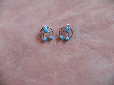 Sterling Silver w/ Turquoise Naja Squash Blossom Earrings Navajo