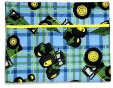 Toddler Pillowcase for John Deere Tractors on Blue & Green 100%Cotton #Jd30