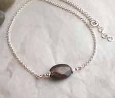 Ovale MUSKOVIT Kette 925 Silber, Halskette braun facettiert f309