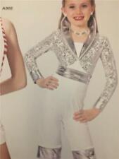 Dance Costume Jazz Tap capri jumpsuit  Art Stone  Medium Child Silver Streak