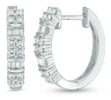 0.47 - 0.53 CT.T.W. Baguette and Round Diamond Alternating Hoop Earrings