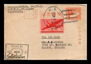 DR JIM STAMPS US NAVAL AIR MAIL WWII POSTAL CARD CENSOR PASSED 1945