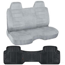 Pickup Truck Bench Regal Gray Seat Cover & Odorless Car Rubber Floor Mat Liner