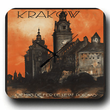 KRAKOW POLAND POLISH RETRO TRAVEL AGENT METAL TIN SIGN WALL CLOCK
