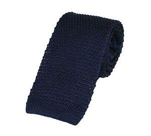 Men's Plain Navy Blue Silk Knitted Tie (N997/11)