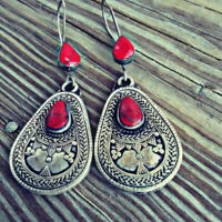 Vintage Boho 925 Silver Red Ruby Gemstone Drop Dangle Hooks Earrings Jewelry