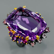 AAAA Recommend Natural Amethyst 925 Sterling Silver Ring Size 8.5/R89493