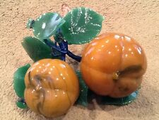 Glass Fruit Glass Peaches or Apricots Blow Glass Heavy True Size Vintage