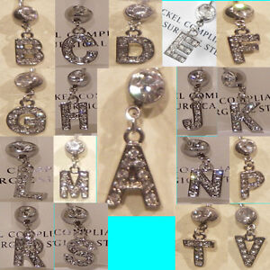 Navel Belly Bar Jewellery Initial Alphabet Letter Rhinestone Gems Surgical Steel
