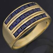 Low Wide 3 ROW 24 NaturalSAPPHIRE 14k Solid Yellow GOLD ETERNITY RING Mid Sz O