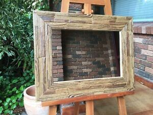 African Inspired Wall Mirror Walnut Timber Frame 62x48cm
