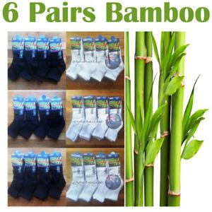 6 Pairs 90% Bamboo Socks Mid Calf Sport Work Casual Soft Cushion Men Women