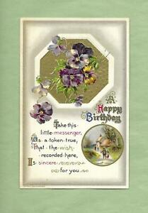 COUNTRY COTTAGE, PANSIES On Lovely JOHN WINSCH Vintage 1910 BIRTHDAY Postcard