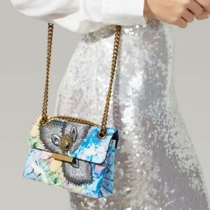 Kurt Geiger Mini Kensington X Embellished Bag Peacock Blue Chain Strap NWT