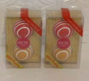 eos Lip Balm Sphere Candy Cane Swirl & Whipped Vanilla Frostin-2 Packs of 2