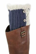 Women Boots Cover Topper Pair Blue Winter Fabric Slip On White Crochet Buttons