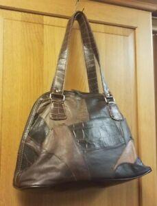 Genuine Soft Leather  Brown Patchwork  Shoulder Bag