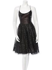 SPECTACULAR NWT $10,990 ROBERTO CAVALLI BLACK LASER CUT LEATHER DRESS