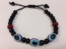 6 Pieces Glass Eye Bracelets Evil, Lucky Eye Adjustable Macrame Nylon Cord 9MM