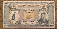 Jason Island Banknote. 50P. Unc. Dated 1979.