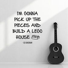 Ed Sheeran Lego House Band Lyrics Quote Wall Sticker Vinyl Decal