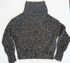 New RAG & BONE Sandra Black/Slate Chunky Knit TNeck Sweater Large $595