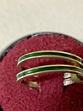 Hidalgo 18K White Gold Green Enamel  Stackable Eternity Band Set Of Two Size 6