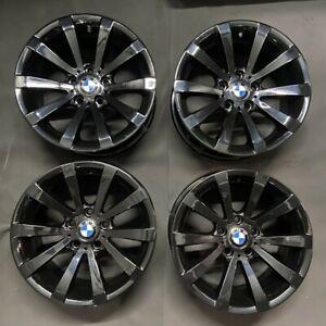 "Genuine BMW 285 17"" V SPOKE SPIDER Alloy Wheels: Gloss Black E90 E92 E46 Z4 Z3"