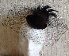 black veiling feather brown mini top hat fascinator millinery burlesque wedding
