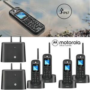 Motorola 0212 Rugged Waterproof 1/2 Mile Long Range 4 Handset Cordless Phone Set