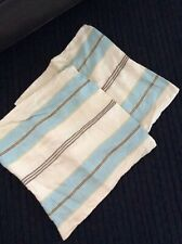 2 (1pr) Pottery Barn Striped Pillow Cover, Linen, 18x18