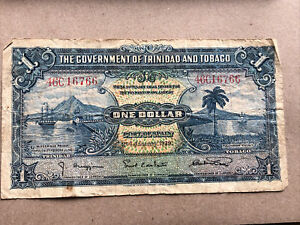 1939 January 2nd GOVERNMENT OF TRINIDAD AND TOBAGO ONE DOLLAR $1 paper note