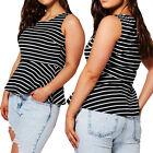 Womens Ladies Plus Size Stripe Print Peplum Vest Top Flared Sleeveless
