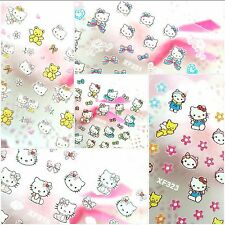 Set of 5 Self Adhesive Light Pink Hello Kitty Bow Heart Nail Art Stickers Decals
