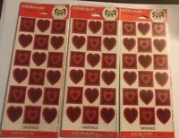 Stickeroni by Hallmark Valentine's Sticker Red and Pink Hearts Simple - 3 Packs