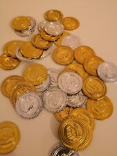 40 Plastic Gold & Silver Pirate Treasure Chest Play Money Birthday Party