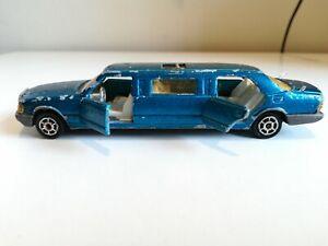 Majorette 1990 Mercedes Limousine #326 Blue Body Gray Plastic Base 300 Series