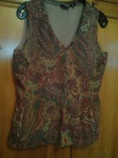 "LADIES QUALITY LINED DETAILED TOP BY ANA SIZE M/L AUTUMN COLOURS 40"" pit to pit"