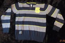 MB Multiblu Sweatshirt Gr.152 Blockstreifen blau grau gelb 50% Baumwolle/50%Poly