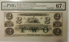 """$2 1860""""S THE NEW ENGLAND COMMERCIAL BANK OBSOLETE BANK NOTE 67 SUPERB GEM..."""