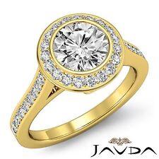Halo Pave Bezel Round Diamond Engagement Ring GIA H VS1 18k Yellow Gold 1.97ct