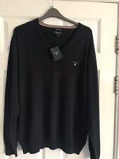Mens Gant Jumper Pullover Navy Blue V Neck Cotton/Wool Blend XXL 2xl Bnwl £90