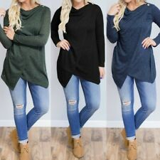 Womens Long Sleeve Shirt Plain Blouse Asymmetric Basic Top Sweatshirt Pullover