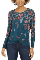STYLE & COMPANY $44 Womens New Teal Floral Long Sleeve Blouse Large